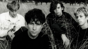 Portrait of Ride (Andy Bell, Laurence Colbert, Mark Gardener and Steve Queralt) photographed in Oxford in August 1990. 24203 - Exclusive  (Photo by Joe Dilworth/Photoshot/Getty Images)